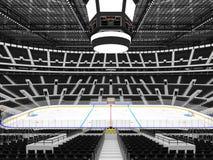Härlig sportarena för ishockey med svartplatser och storgubbeaskar Arkivbilder