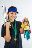 Härlig sportswoman på skytte Fotografering för Bildbyråer