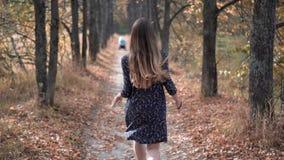 Härlig spring för ung kvinna till och med Forest Sun Shining lager videofilmer