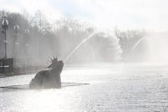 Härlig springbrunn med dimma Arkivbilder