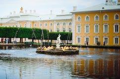 Härlig springbrunn och arkitektur i Peterhof i St Petersburg Sikt av ryss royaltyfria foton