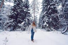 Härlig stående av en flicka i vinterskog Fotografering för Bildbyråer