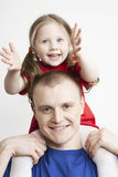 härlig stående för dotterfamiljfader Royaltyfria Bilder