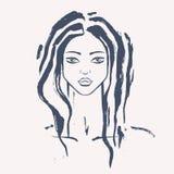 härlig ståendekvinna vektor illustrationer
