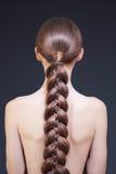 härlig ståendekvinna Lång brun flätad tråd Arkivbilder