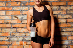 Härlig stark idrottskvinna Arkivbild