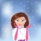 Härlig stilfull flicka i jul också vektor för coreldrawillustration Royaltyfria Foton