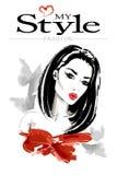 härlig stilfull kvinna Hand dragen modekvinnastående Tidskriftmodeblick stock illustrationer