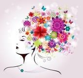 Härlig stilkvinna med blommor och fjärilar. vektor illustrationer