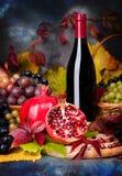 Härlig stilleben med vinexponeringsglas, druvor, granatäpple Arkivbilder
