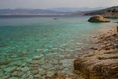 Härlig strand för en ferie i Albanien Ionian hav arkivfoton