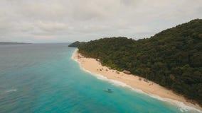 Härlig strand för flyg- sikt på den tropiska ön Boracay öFilippinerna Royaltyfri Bild