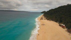Härlig strand för flyg- sikt på den tropiska ön Boracay öFilippinerna Royaltyfria Bilder
