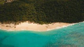Härlig strand för flyg- sikt på den tropiska ön Boracay öFilippinerna Royaltyfri Foto