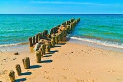 Härlig strand, hav och vågbrytare fotografering för bildbyråer