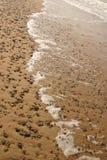 Härlig strand med färgrika kiselstenar i sand Royaltyfri Fotografi