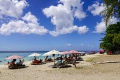Härlig strand på den soliga dagen i Mauritius Royaltyfri Fotografi
