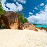 Härlig strand på Seychellerna Royaltyfria Foton