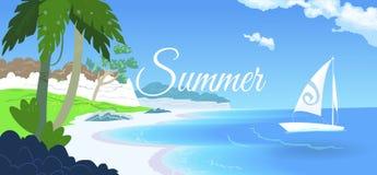 Härlig strand, palmträd och fartyg på stranden Royaltyfria Bilder
