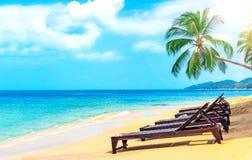 härlig strand Stolar på den sandiga stranden nära havet Sommar Royaltyfri Bild