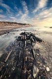 Härlig strandplats med att intressera lätt royaltyfri fotografi