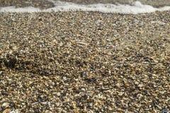 Härlig strandsand och hav på solnedgångtider med kopieringsutrymme för bakgrund - tappningfiltret och ökning färgar upp att bearb Royaltyfri Fotografi