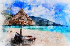 Härlig strandvattenfärgmålning, digital konststil, illustrationmålning arkivfoton