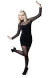 härlig svart blond klänning Fotografering för Bildbyråer
