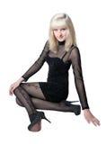 härlig svart blond klänning Arkivfoton