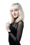 härlig svart blond klänning Arkivbilder