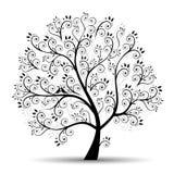 härlig svart silhouettetree för konst royaltyfri illustrationer