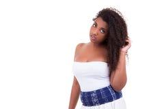 Härlig svarta människor för tonårs- flicka för afrikansk amerikan Arkivfoton