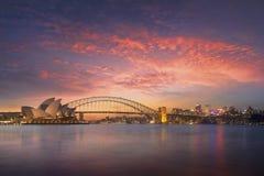 Härlig Sydney fjärdsikt på solnedgången Royaltyfria Bilder