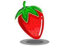 Härlig symbol av den röda jordgubben i modern stil för vektor med vit bakgrund i vektor royaltyfri foto