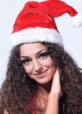 Härlig tänkande kvinna i Santa Claus juldräkt Arkivfoton