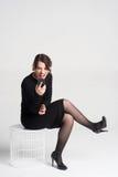 härlig talande kvinna royaltyfri bild