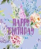 Härlig tappningvykort med en lycklig födelsedag - vattenfärgen blommar arkivbilder
