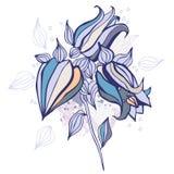 härlig tecknad blommahandillustration Arkivbilder
