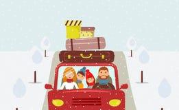 Härlig tecknad filmfamilj: den unga mannen, kvinnan, sonen och dottern går till jul semestrar vektor illustrationer