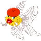 Härlig tecknad filmguldfisk i en röd basker Arkivfoton