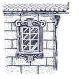 härlig tegelstenkantho nära väggfönster Vektor Illustrationer