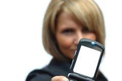 härlig telefonkvinna Arkivbilder