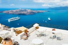 Härlig terrass med havssikt Royaltyfria Foton