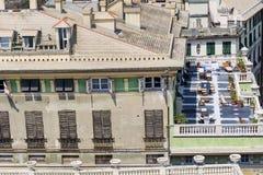 Härlig terrass med tabeller och stolar i Genua, Italien Fotografering för Bildbyråer
