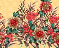 Härlig textiltryckdesign med blommor Royaltyfria Foton