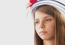 Härlig tonårs- flicka i hatt Royaltyfria Foton