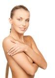 härlig topless kvinna Arkivbild