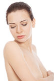 Härlig topless kvinna. Fotografering för Bildbyråer
