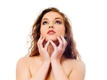 Härlig topless kvinna med långt lockigt hår Fotografering för Bildbyråer