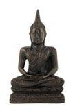 Härlig träbuddha staty på isolerad vit bakgrund Royaltyfri Fotografi